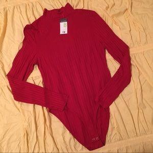 NEW Red Mock Neck Ribbed Bodysuit